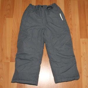 Athletech Boys 4/5 Insulated Snow Pants Gray Zip